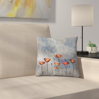 Poppy Flower Meadow Throw Pillow Size: 16 x 16