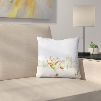 Ice Skating Deer in Winter and Snow Is Falling Throw Pillow Size: 16 x 16