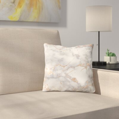 Shiny Metal Foil on Marble Throw Pillow Size: 18 x 18