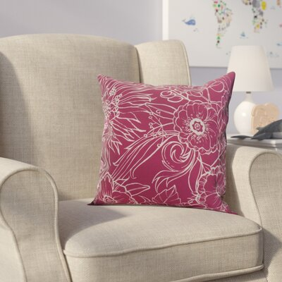 Jarred Floral Print Indoor/Outdoor Throw Pillow Color: Pink, Size: 16 x 16