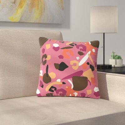 Luvprintz Abstract Leoparc Outdoor Throw Pillow Size: 16 H x 16 W x 5 D, Color: Brown/Pink