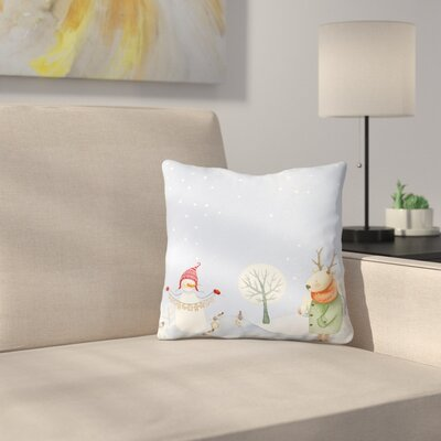 Deer and Snowman in Snowy Winter Forest with Little Birds Throw Pillow Size: 16 x 16