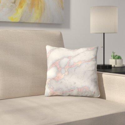 Metal Foil on Marble Throw Pillow Size: 18 x 18