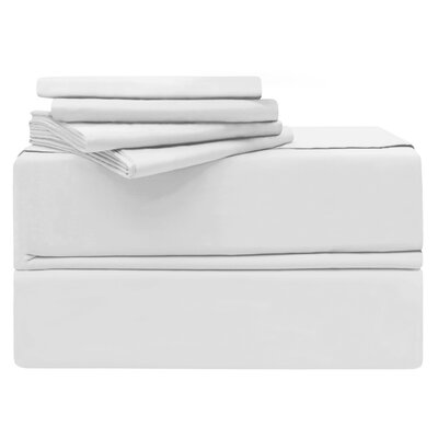 Luxury 6 Piece 620 Thread Count 100% Cotton Sheet Set Size: Queen, Color: White