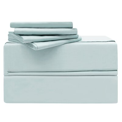 Luxury 6 Piece 620 Thread Count 100% Cotton Sheet Set Size: Queen, Color: Spa Blue