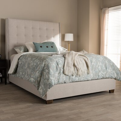 Holter Upholstered Panel Bed Color: Beige, Size: King