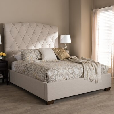 Leavy Upholstered Sleigh Bed Color: Beige, Size: King