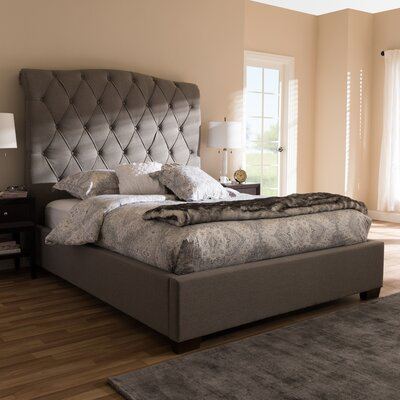 Leavy Upholstered Sleigh Bed Color: Gray, Size: King