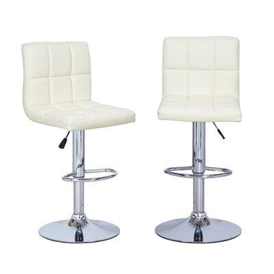 Sandidge Adjustable Height Swivel Bar Stool Upholstery: Cream
