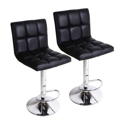 Sandidge Adjustable Height Swivel Bar Stool Upholstery: Black