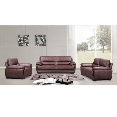 Rollins 3 Piece Living Room Set Upholstery: Brown
