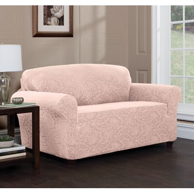 Stretch Plaid Box Cushion Loveseat Slipcover Upholstery: Blush/Floral