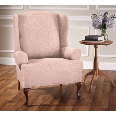 Box Cushion Wingback Slipcover Upholstery: Blush/Floral
