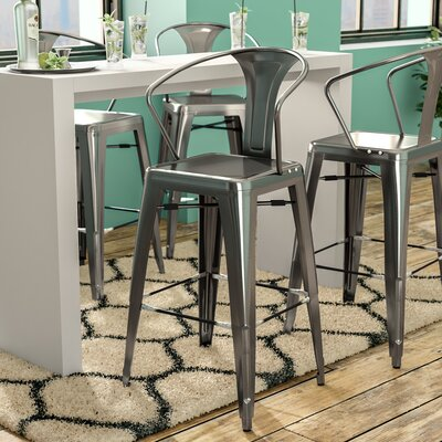 Toms 30 Bar Stool (Set of 4) Finish: Gun Metal