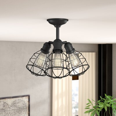 Evergreen 3-Light Semi Flush Mount Finish: English Bronze
