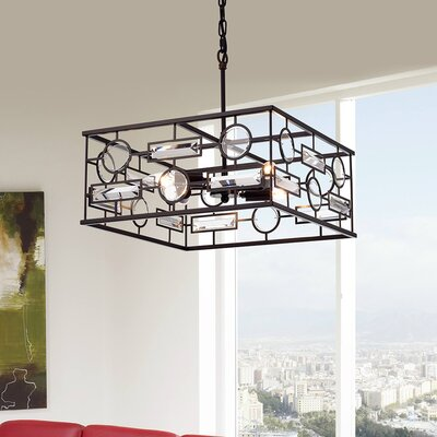 Cheaney 4-Light Geometric Pendant Finish: Antique Bronze, Shade Color: Clear/Bronze