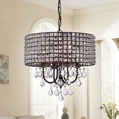 Coastal Blues 4-Light Drum Chandelier Finish: Antique Bronze, Shade Color: Clear/Bronze