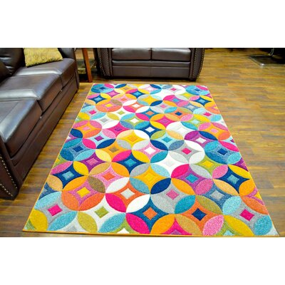 Eclipse 3D Modern Contemporary Green/Red/Blue Area Rug