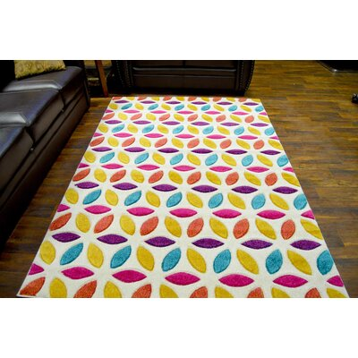 Eclipse 3D Modern Contemporary Green/Yellow/Red Area Rug