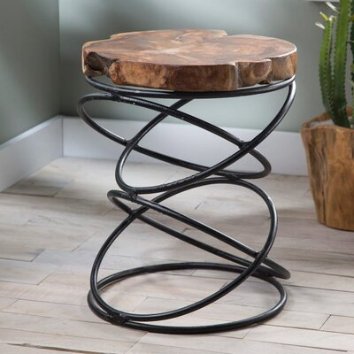 Obanion Natural Wood and Metal End Table