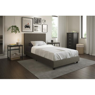 Anciaux Twin Upholstered Platform Bed Color: Gray Linen