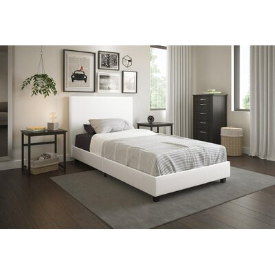 Anciaux Twin Upholstered Platform Bed Color: White Faux Leather