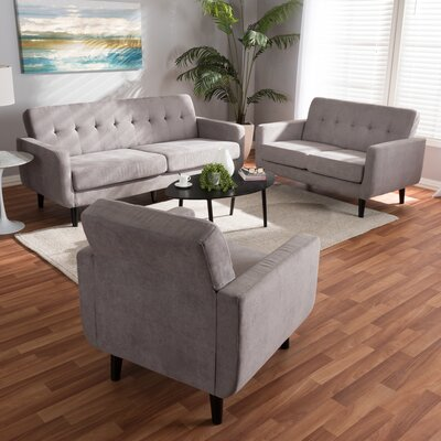 Doty Mid Century Modern Upholstered 3 Piece Living Room Set Upholstery: Light Gray