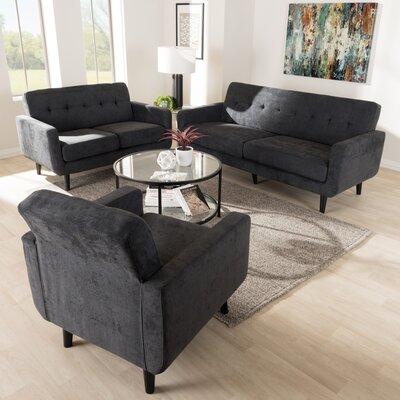 Doty Mid Century Modern Upholstered 3 Piece Living Room Set Upholstery: Dark Gray