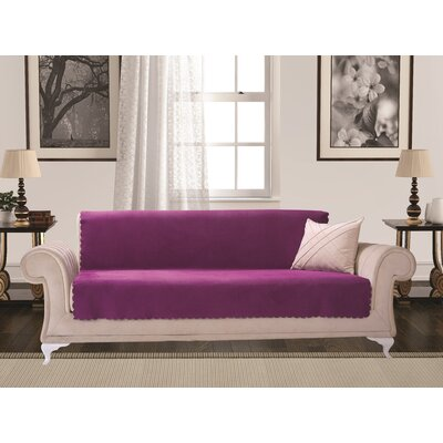 Diamond Box Cushion Sofa Slipcover Upholstery: Purple