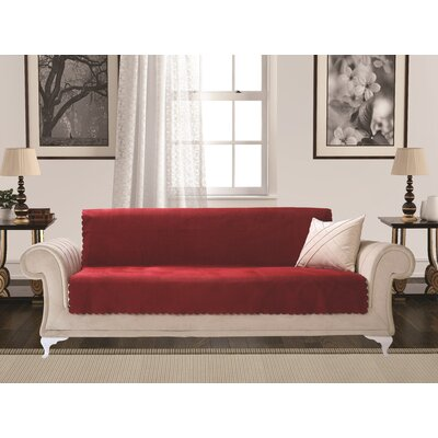 Diamond Box Cushion Sofa Slipcover Upholstery: Burgundy