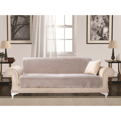 Diamond Box Cushion Sofa Slipcover Upholstery: Stone