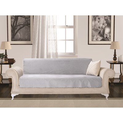 Diamond Box Cushion Sofa Slipcover Upholstery: Gray