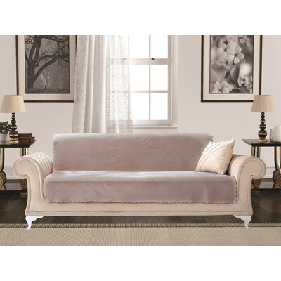 Diamond Box Cushion Sofa Slipcover Upholstery: Chickpea