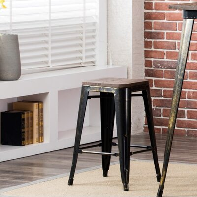 Hoeft 24 Bar Stool Frame color: Black