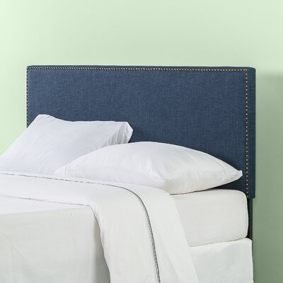 Agathe Nailhead Trim Upholstered Panel Headboard Size: Queen, Color: Navy