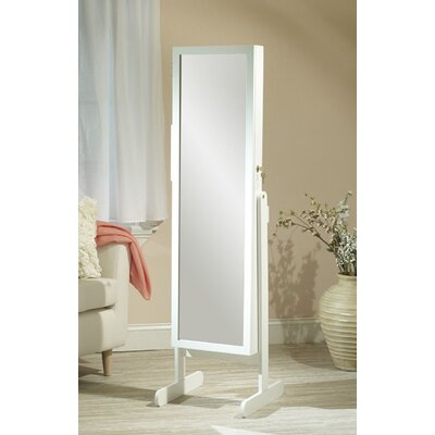 Hallsten Free Standing Jewelry Armoire with Mirror Color: White