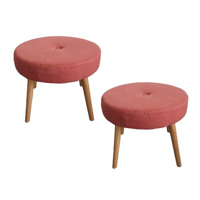 Fairlawn Round Ottoman Upholstery: Red