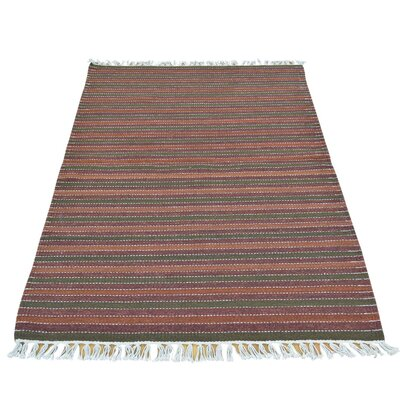 Striped Durie Kilim Flat Weave Hand-Knotted Wool Brown/Green Area Rug