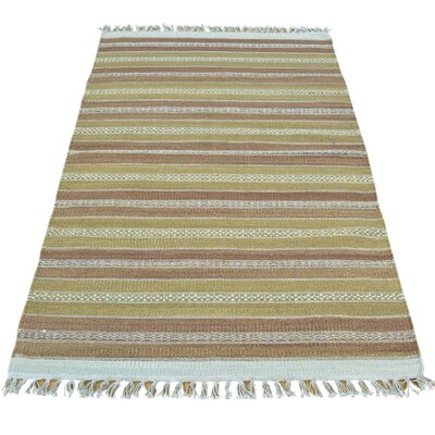 Striped Durie Kilim Flat Weave Hand-Knotted Wool Light Green/Light Brown Area Rug