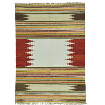 Durie Kilim Flat Weave Hand-Knotted Wool Beige/Rust Area Rug