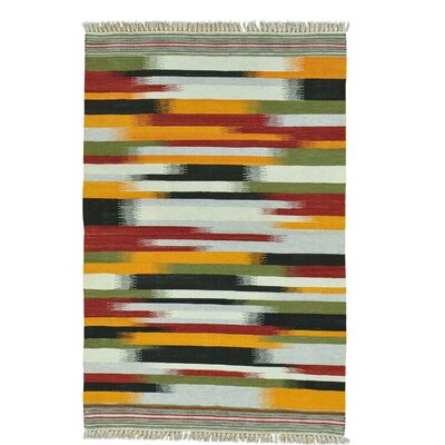 Striped Durie Kilim Flat Weave Oriental Hand-Knotted Wool Yellow/Blue Area Rug