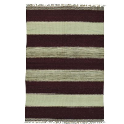 Flat Weave Striped Durie Kilim Oriental Hand-Knotted Brown Area Rug