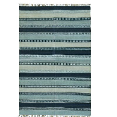 Striped Kilim Flat Weave Reversible Oriental Hand-Knotted Light Blue/Gray Area Rug