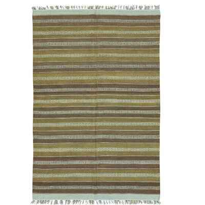 Striped Durie Kilim Flat Weave Oriental Hand-Knotted Brown/Mustard Area Rug