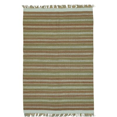 Flat Weave Striped Durie Kilim Oriental Hand-Knotted Cotton Brown/Mustard Area Rug