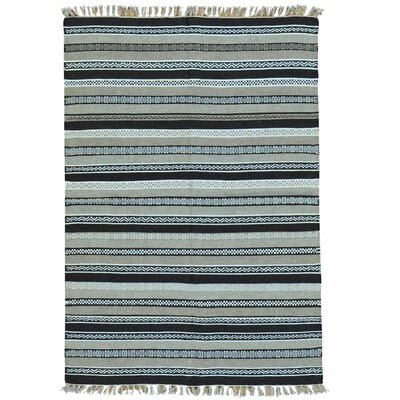 Flat Weave Reversible Durie Kilim Hand-Knotted Light Blue/Gray Area Rug