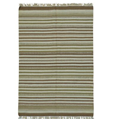Durie Kilim Reversible Flat Weave Oriental Hand-Knotted Brown/Mustard Area Rug