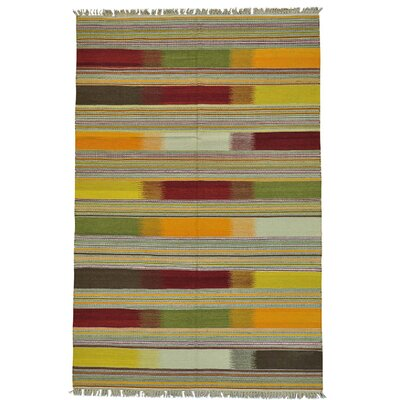 Durie Kilim Flat Weave Oriental Hand-Knotted Light Green/Red Area Rug