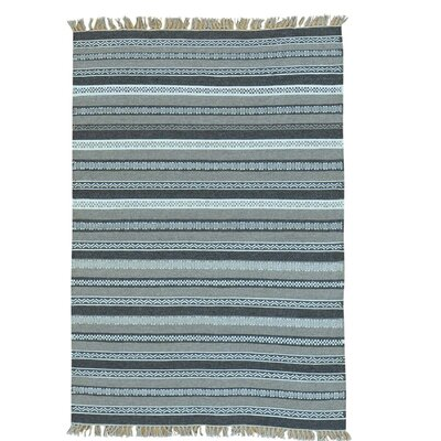 Striped Flat Weave Durie Kilim Oriental Hand-Knotted Blue/Gray Area Rug