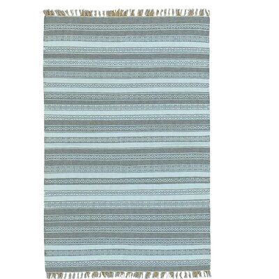 Reversible Striped Flat Weave Kilim Oriental Hand-Knotted Gray Area Rug